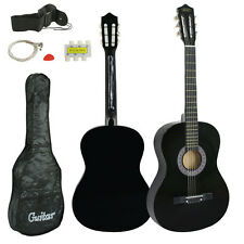"Wooden Acoustic Black Guitar 38"" Full Size Adult Kids W/Case & Pick & Accessorie"