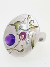 DANIEL VIOR 925 Silver SOLVE Amethyst Enamel Ring - Size N - RRP £240