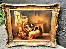 ORIGINAL OIL PAINTING SIGNED F.G.GRUST MOTHER KNITTING with CHILDREN and BABY