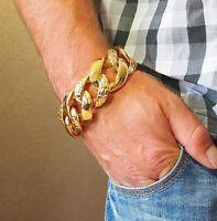 24K Gold Plated Men Stainless Steel Bracelet Chain Heavy Weight Bling Massive l