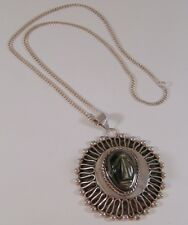 Vintage Taxco Mexican Sterling Silver & Carved Obsidian Mayan Pendant Necklace