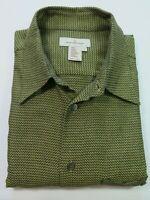 Ermenegildo Zegna Men's Cotton Gold Black Geometric Italian Casual Shirt Large