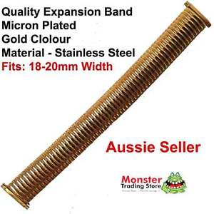 WOULD FIT 18-20MM WIDTH WATCH GOLD COLOUR QUALITY EXPANSION BAND WATCH STRAP
