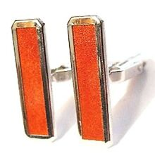 WEH Sterling Orange-Red Enamel Cufflinks Vtg HAYWARD Elongated Rectangles Walter