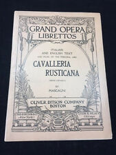 CAVALLERIA RUSTICANA SHEET MUSIC OPERA, 1919 BY MASAGNI, ITALIAN & ENGLISH TEXT
