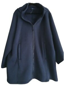 Cotton TRADERS Size 26 NAVY FLEECY LINED HOODED COAT NWOT