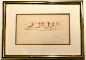 """Salvador Dali Signed """"Visions Of Venice"""" Etching Artist Proof"""