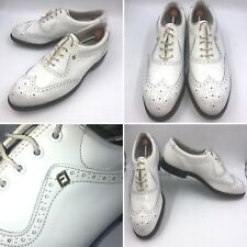 🌈FootJoy Classics Mens Size 9 White Leather Wing Tip Golf Shoes Spikes USA Made