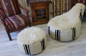 Chair, black and white wool, handmade chair