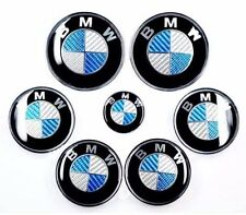 7xSET Carbon Fiber Blue/White Emblem Logo For BMW 2x82+68+45mm front back wheel