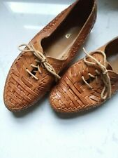 Vintage Unisex 1980's Fayva Leather Woven Loafer Flats Shoes size 9/10.5