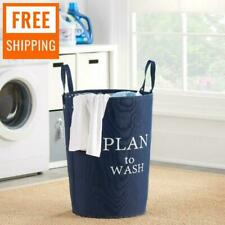 Large Laundry Hamper Canvas Basket Portable Washing Clothes Bag Storage Bin