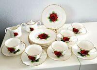 Nippon Toki Kaisha Tea Set/service RED CABBAGE ROSE 21 pieces