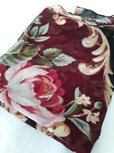 Echo Long Scarf Shawl 100% Rayon Burgundy Rose Floral 20x60 Semi Sheer