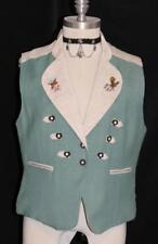 GREEN ~ LINEN Women German Fitted Hunting Trachten Dress Skirt Coat VEST 36 8 S