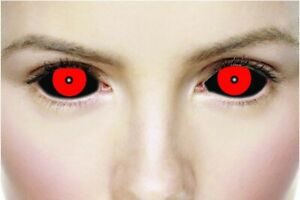 22MM SCLERA ONE YEAR  LENS PAIR BY MESMEREYEZ! HELLISH BLACK & RED