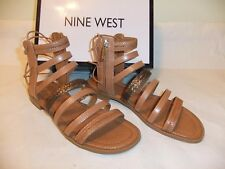 7a02f2a1d43 NINE WEST Xema Brown Tan Gladiator Strappy Sandal Zipper Size 8.5 NIB  80