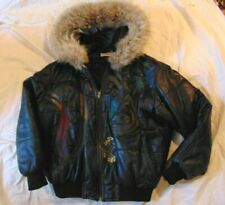 ICEBERG ITALY VTG LEATHER PARKA Coat Jacket w/ Fur HOOD - Black - Size 42