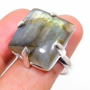 Labradorite Gemstone Handmade 925 Sterling Silver Jewelry Ring Size 7 m545