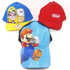 3 x Nintendo Official Red Yellow Blue Licensed Hats: Wario, Mario, 3DS