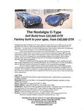 NOSTALGIA CARS ( JAGUAR C TYPE) REPLICA KIT CAR SALES 'BROCHURE' FOR THE 2000's