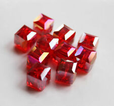 8mm Faceted Square Cube Cut Glass Crystal Loose Spacer Charm Beads 10pcs