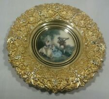 VINTAGE ROCCO STYLE ROUND HEAVY BRASS FRAME WITH PRINT OF ROMANTIC MINATURE