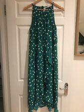 Oasis Lunares/Spot Verde Vestido De Gasa-Tamaño 14 (usado una vez)