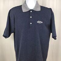 Vintage Callaway Mens Polo Shirt Navy Blue Striped Cotton Size Medium. C8