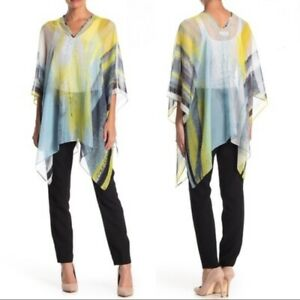 CALVIN KLEIN abstract chiffon women's poncho cover-up - Yellow/Blue