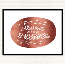 Rose Gold Nothing Impossible Unicorn Quote Mouse Mat Pad