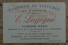 Carte de visite CDV ALENCON ORNE Lagogné Fabrique de voiture Omnibus de luxe