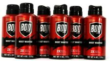 6 Cans Bod Man 4 Oz Most Wanted 2X Fragrance Boosted With Caffeine Body Spray