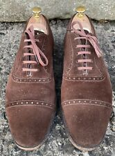 EDWARD GREEN MEN'S BROWN SUEDE HALF BROGUES UK 8  HAND MADE IN ENGLAND VGC