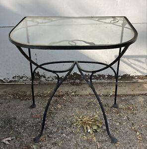 Vintage Salterini Console Table Heavy Iron Mid Century Modern Vine & Leaf