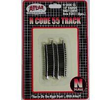 "ATL 2011 Atlas N Scale C55 10"" Radius Half Section Track 6 pack New Free Ship"