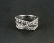 Ring Sterling Silver Woven Cubic Zirconia Strands Band Design Size 8 925 Ring