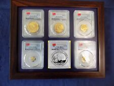 2016 CHINA ~ 3 OZ GOLD&SILVER PANDA 6 COINS SET ALL ARE PCGS MS 70 FIRST STRIKE