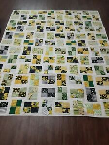 """NEW HANDMADE QUILTS BY """"AUNT BETTY"""" 60"""" x 72"""" BEAUTIFUL YELLOW/GREEN/WHITE/BLACK"""