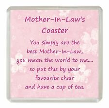 MOTHER-IN-LAW Drink Coaster Fun Poem Novelty Birthday Christmas Mothers Day Gift