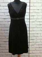 Vintage Sparkle Black Crushed Velvet Evening Dress 90s Party Size US 6 / UK 10