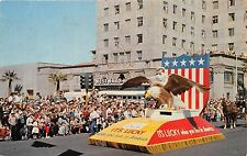 ARIZONA WORLD'S CHAMPIONSHIP RODEO PARADE~LUCKY TO LIVE IN AMERICA POSTCARD 1957