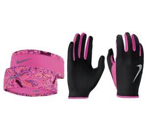 Nike Womens  Dri-Fit Running Headband and Glove Set M/L, XS/S Color Black/Pink