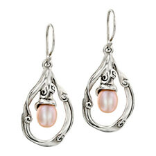 QVC Hagit Sterling Peach Cultured Freshwater Pearl Swirl Drop Earrings