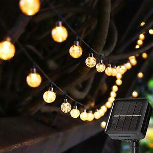 100-20LED SOLAR POWERED RETRO BULB STRING LIGHT GARDEN OUTDOOR FAIRY SUMMER LAMP