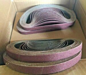 "(50) Carborundum 1/2"" x 18"" Sanding Belt Aluminum Oxide Resin Cloth 80 Grit ALO"