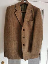 """Hand Woven Harris Tweed Gurtex 40"""" Chest Brown Tweed Jacket Blazer Mens Vintage"""