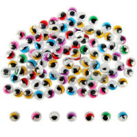 Cy_ Colorful Round Self-adhesive Wiggly Googly Eyes with Eyelash For Doll Toy Ey