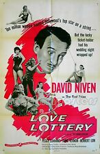 LOVE LOTTERY 1954 David Niven Peggy Cummins Herbert Lom US 1-SHEET POSTER