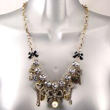 Oro Vintage Gitano Chiavi Lucchetti Fiocchi Perle Cristalli Ciondoli Bling